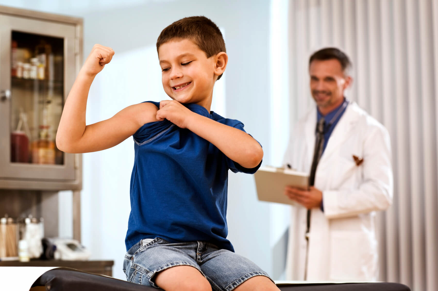 Healthy fit kid doctor check-up
